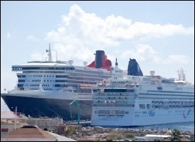 Queen Mary and Norwegian Dawn at Port Zante
